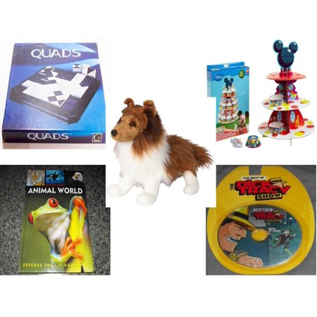 Children's Gift Bundle [5 Piece] -  Gigamic Quads  - Wilton Mickey Mouse Clubhouse Cupcake Stand Kit  - Whispy Sheltie 16