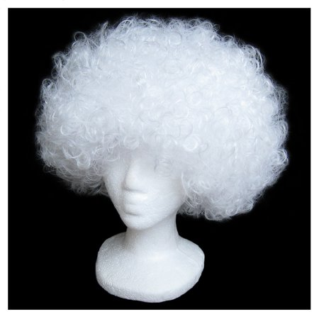 SeasonsTrading Economy White Afro Wig - Halloween Costume Party Wig - White Costume Wig