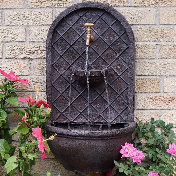 Sunnydaze Seaside Outdoor Wall Water, Outdoor Wall Mounted Water Fountains