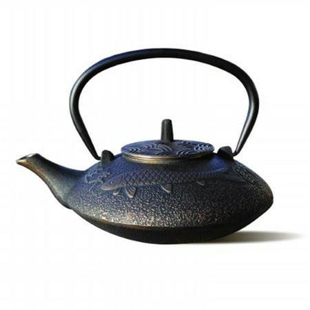 38 oz. Black and Copper Cast Iron Koi Teapot