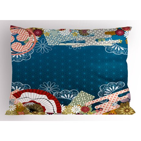 Modern Pillow Sham Japanese Contemporary Asian Artful with Flowers Hand Fans on Blue Backdrop Print, Decorative Standard Size Printed Pillowcase, 26 X 20 Inches, Multicolor, by Ambesonne - Asian Fan