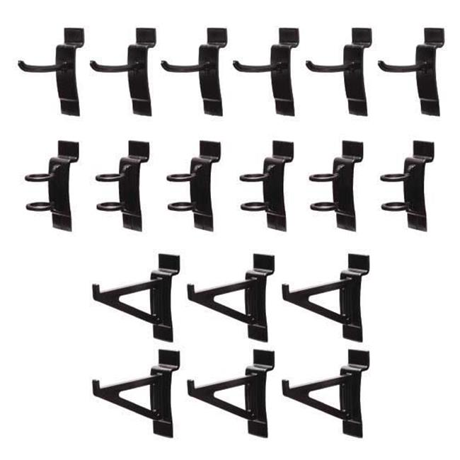 Jifram Extrusions, Inc.  11000295 Easy Living Easy Wall Combination Bag of 18 Tool Hanging Slatwall Hooks