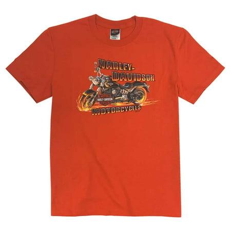 Harley-Davidson Little Boy's Chain Popper Short Sleeve Crew Tee, Orange, Harley -