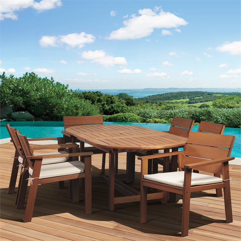 Nelson Eucayptus 7-Piece Oval Extendable Patio Dining Set