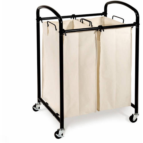 Seville Classics Mobile Double Bag Compact Laundry Hamper Sorter Cart, Black