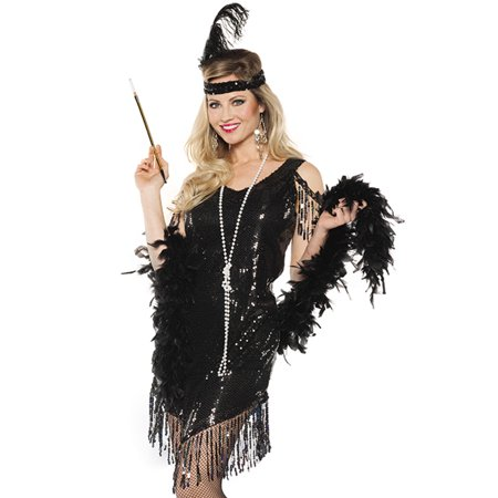 Black Sequined Swinging Flapper Dress 20'S The Great Gatsby Halloween Costume (Halloween Costumes Women Black Dress)