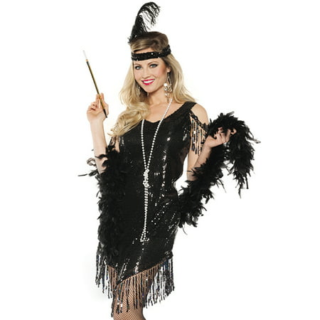 Black Sequined Swinging Flapper Dress 20'S The Great Gatsby Halloween Costume (Halloween Costumes With Long Black Dresses)