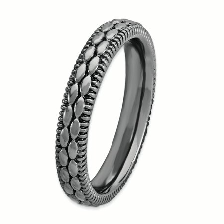 Sterling Silver Stackable Expressions Ruthenium-plated Patterned Ring Size 5 - image 2 of 3