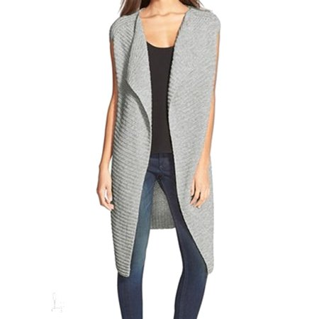 Nordstrom New Gray Womens One Size Open Front Ribbed Vest Sweater