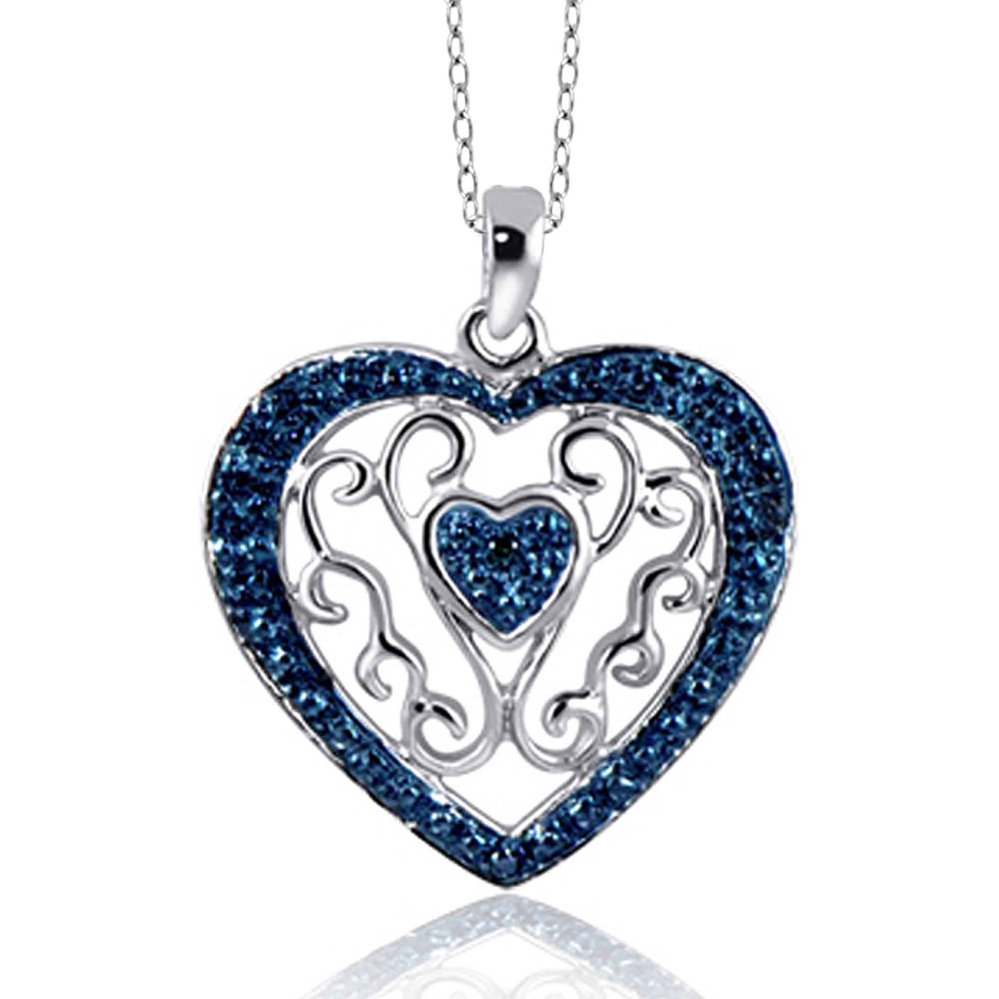 JewelersClub Blue Diamond Accent Sterling Silver Heart Pendant