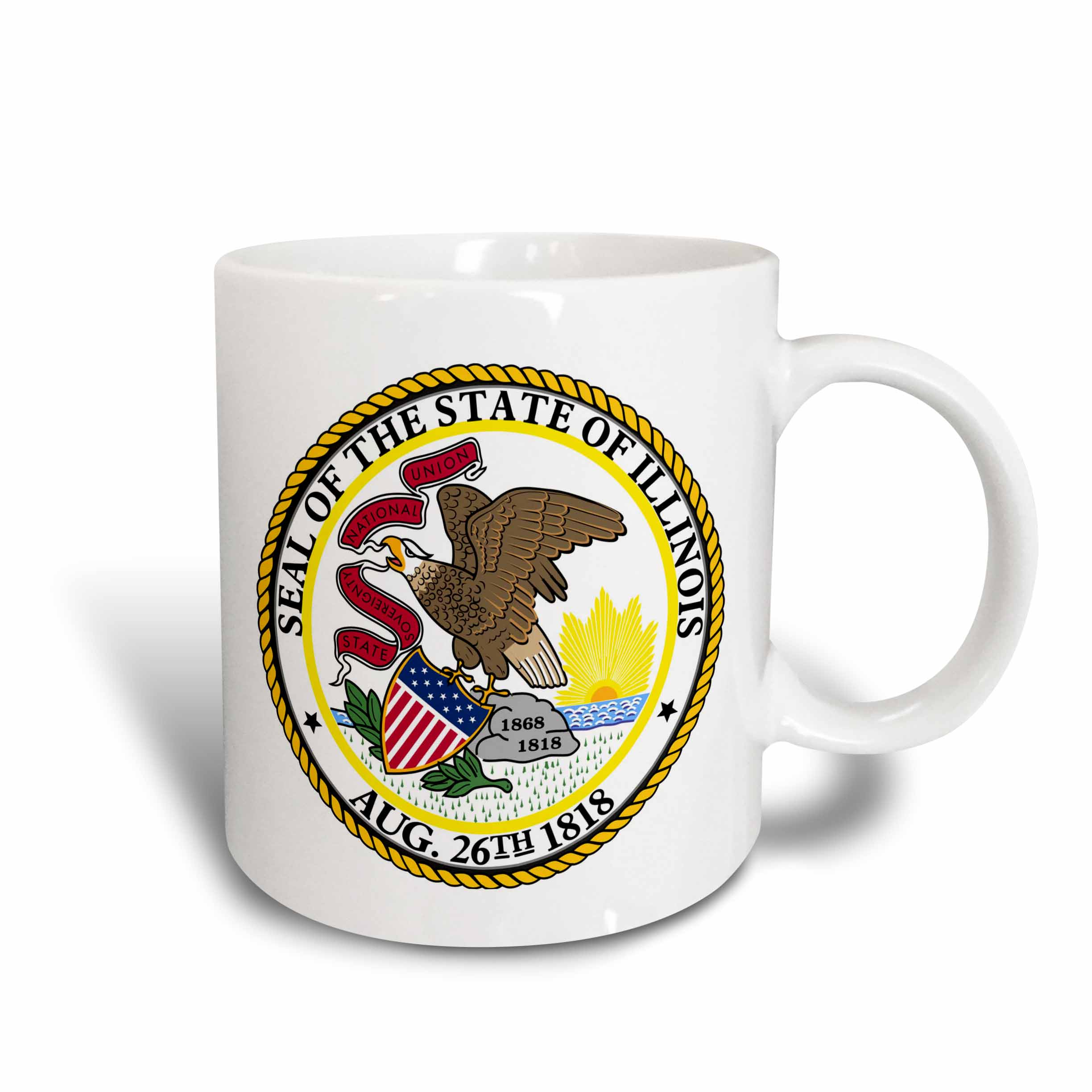 3dRose State Seal of Illinois (PD-US), Ceramic Mug, 11-ounce