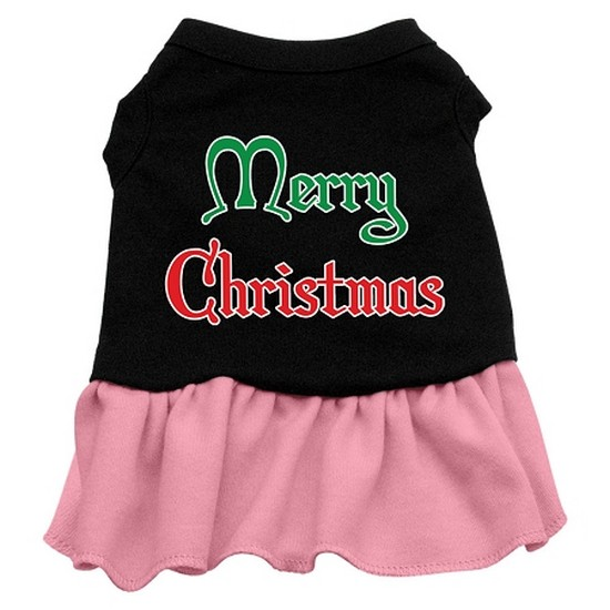 Merry Christmas Screen Print Dress Black with Pink Lg (14)