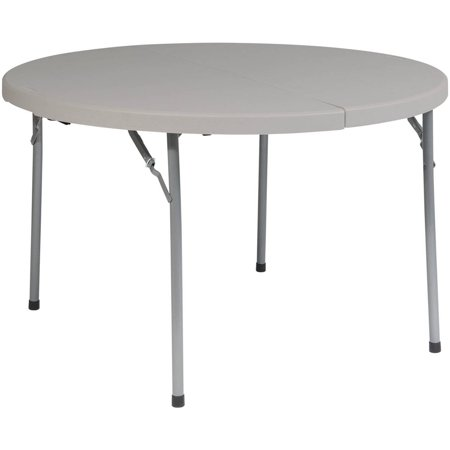 Work Smart 48  Round Fold In Half Resin Multi Purpose Table  Light Grey