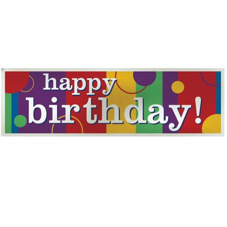 Happy Birthday Giant Metallic Sign Banner - Happy Birthday Sig