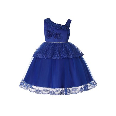 Kids Girls Embroided Flower Decorated Fancy Dress - Fancy Dresses For Girls