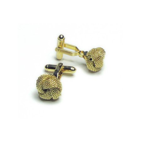 Gold-Tone Men's Cuff Links Classic Love Double Knot Cufflinks Silk Knot Cufflinks