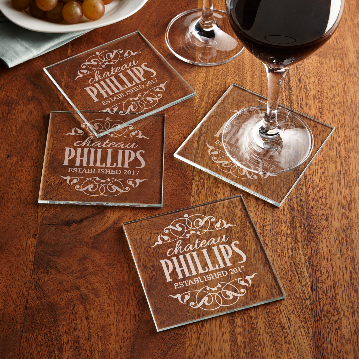 Personalized Decorative Label Glass Coasters