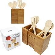 KAGURA BAMBOO Expandable Utensil Holder Divider Organizer for Kitchen Spatula Caddy Cutlery Silverware Flatware 100 RealBamboo E