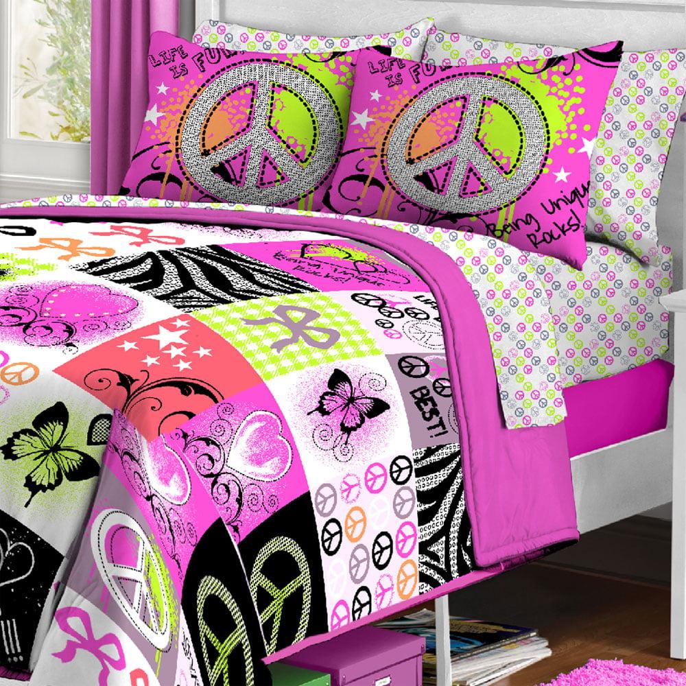 Unique Peace Signs Twin Comforter Pillow Sham Set   Walmart.com