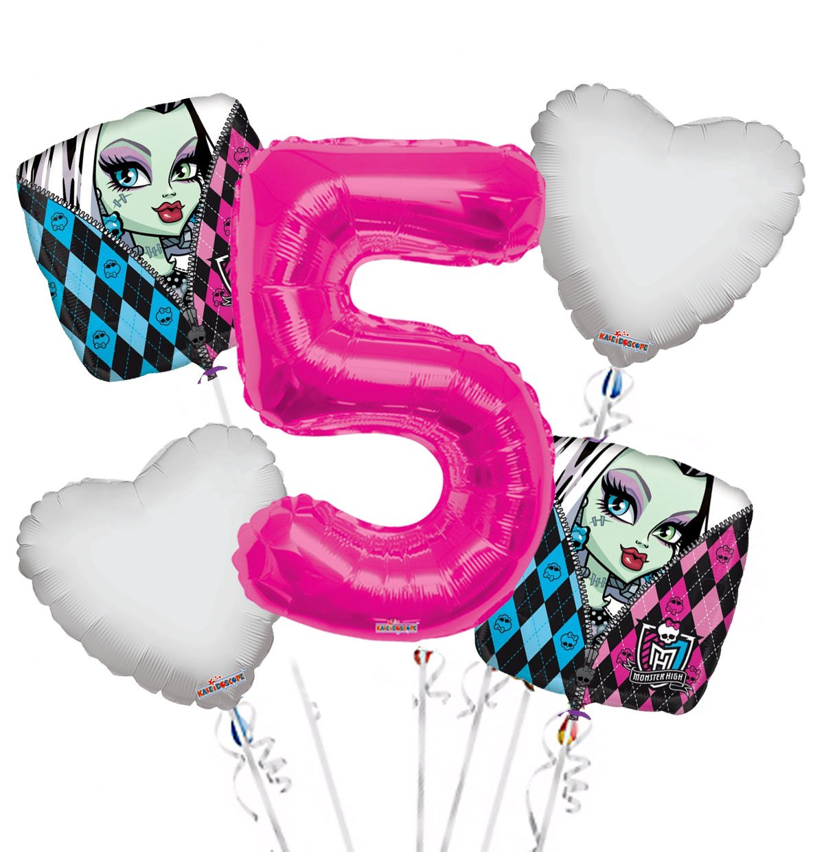 Monster High Balloon Bouquet 5th Birthday 5 pcs - Party Supplies, 1 Giant Number 5 Balloon, 34in By Viva Party