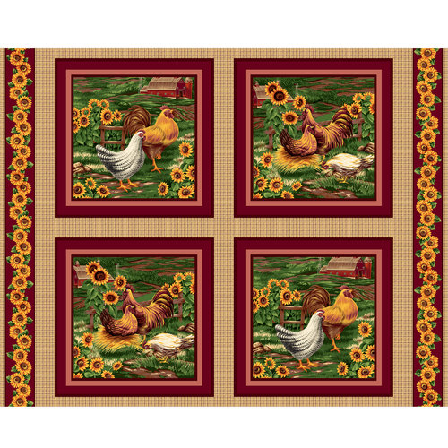 VIP Fabrics Roosters Home Decoration Fabric, 75205-M