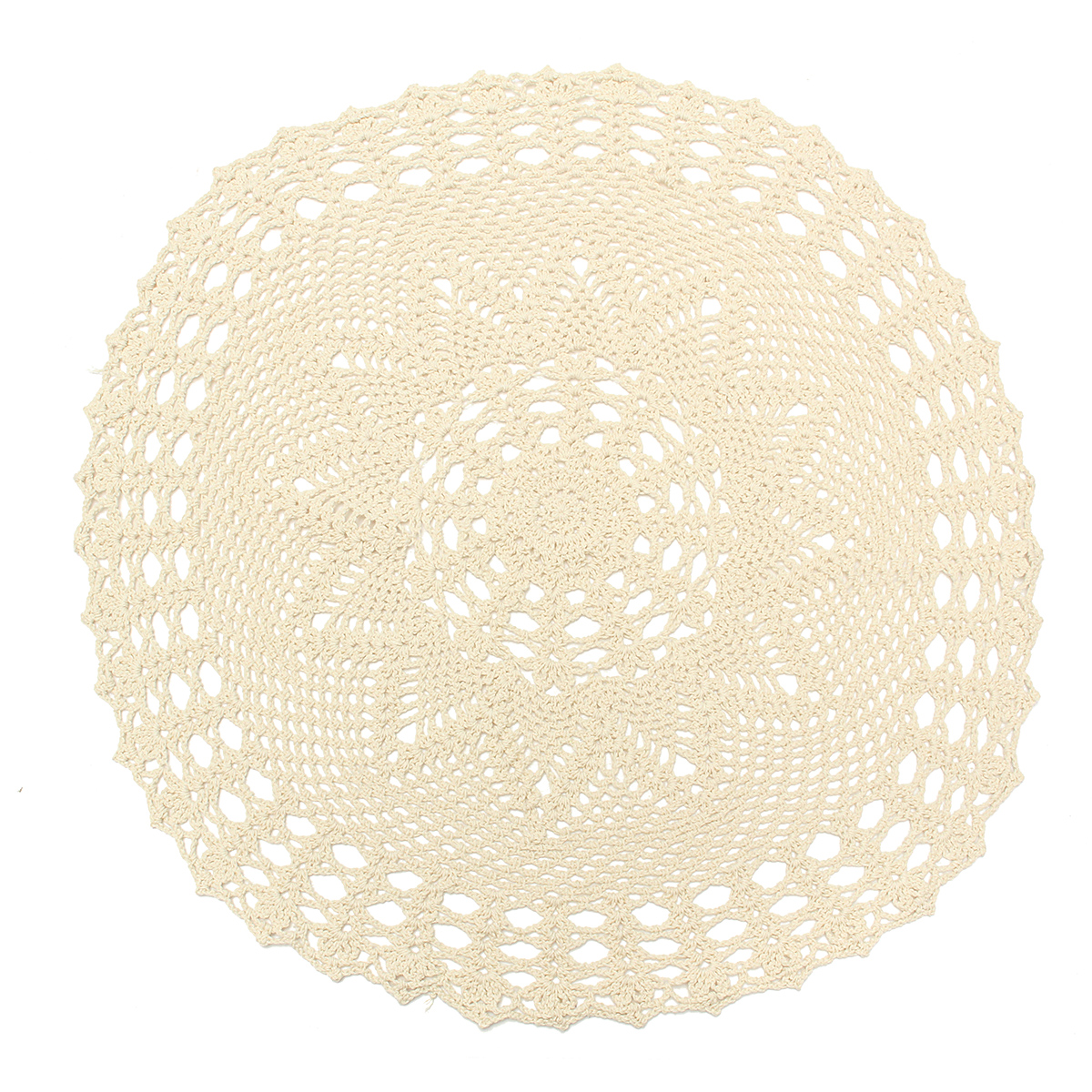Meigar 21.65'' Vintage Round Handmade Cotton Crochet Doilies,Ecru Round Crocheted Lace Cloth Fabric Doilies Placemats Table Mat Doily