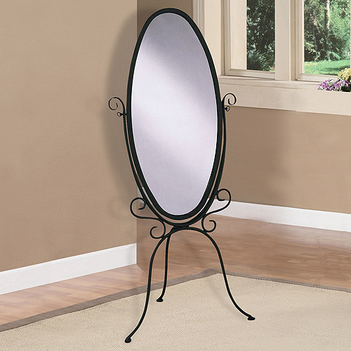 Metal Scroll Cheval Mirror, Black with Gold Highlights