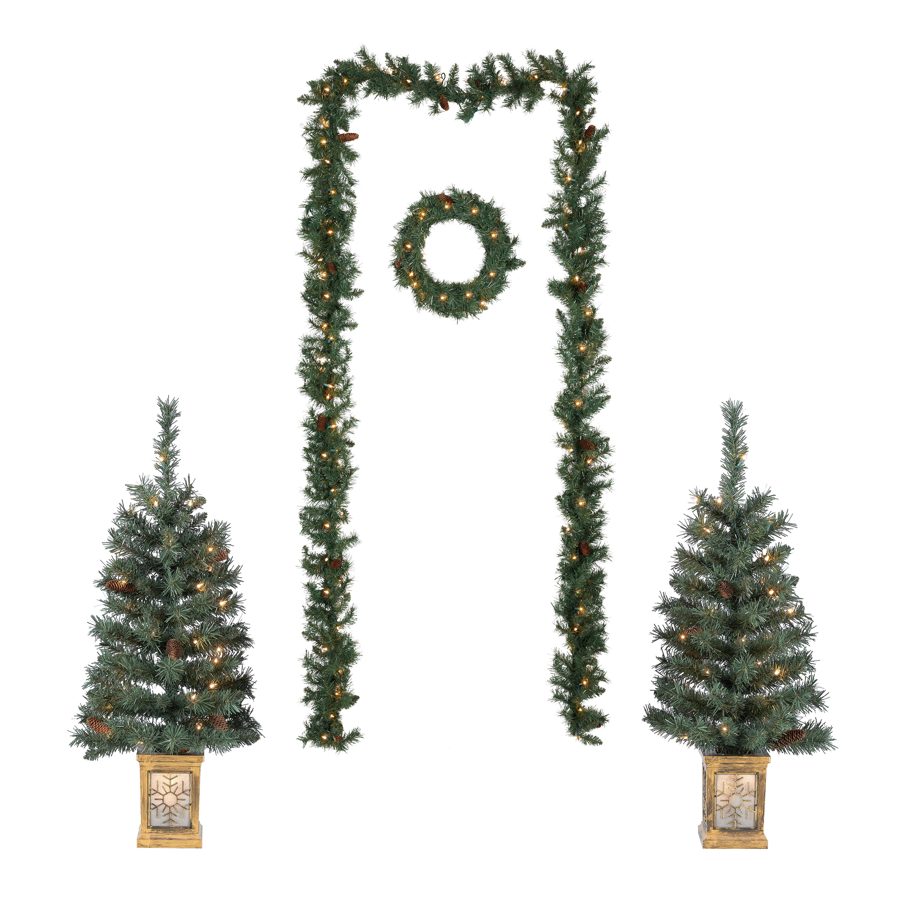 Holiday Time Pre-Lit Christmas Tree Entryway Set, White ...