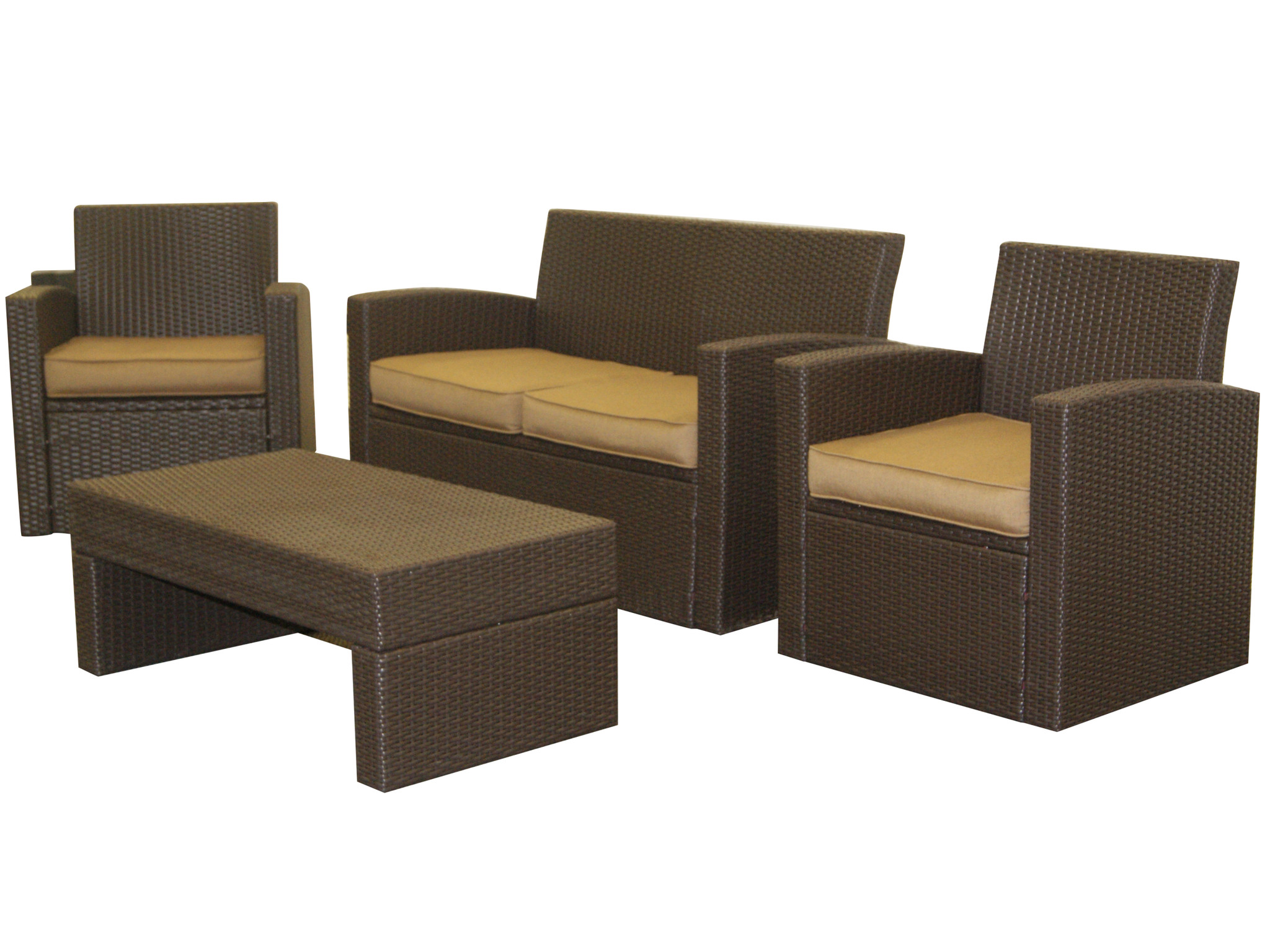 ePatio 4 Piece Resin Wicker Loveseat Set in Brown with 4 Brown Cushions by ePatio Furniture