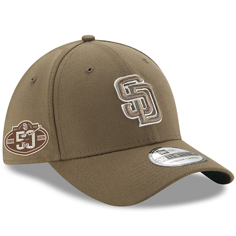 San Diego Padres New Era 50th Anniversary Team Classic 39THIRTY Flex Hat - Brown