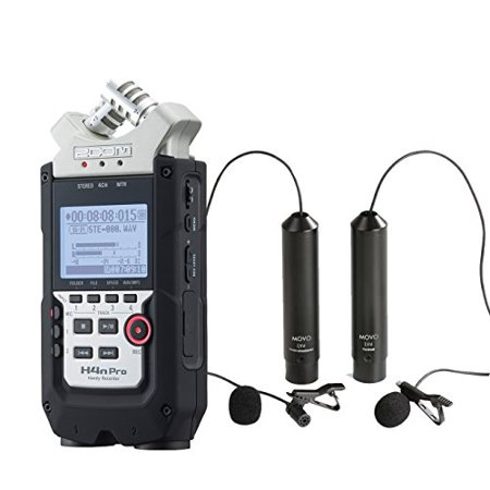 Zoom H4n PRO 4-Channel Handy Recorder Bundle with Movo Omnidirectional and Cardioid XLR Lavalier