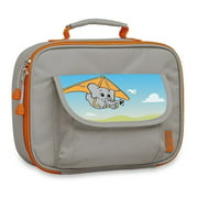 Bixbee Boys Girls Grey Elephant Insulated Flap Pocket Lunch Box