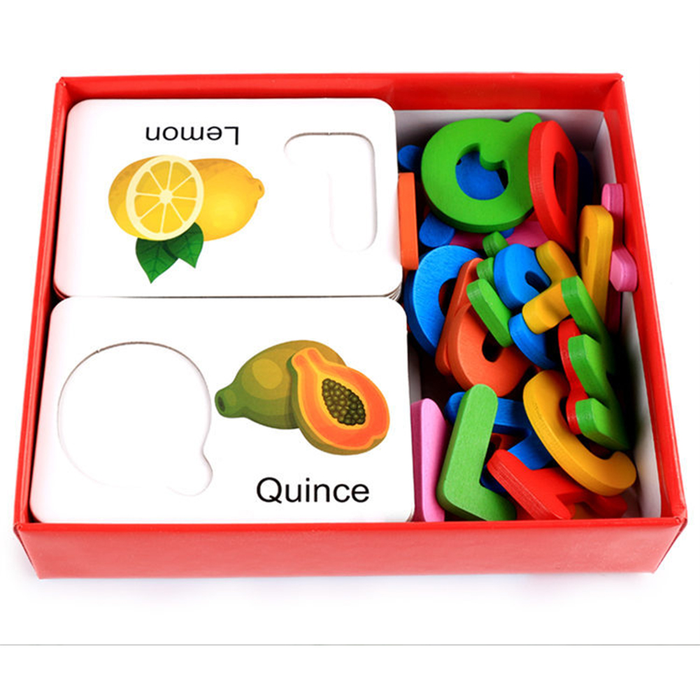 Wooden Early Education Baby Learning Fruit Vegetable ABC Alphabet Letter Cards Cognitive Educational Toys for Kids Color:fruit alphabet card - image 5 de 6