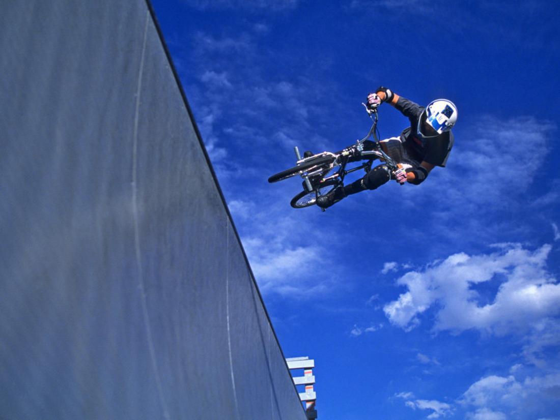 Bmx Cyclist Flys Over The Vert Print Wall Art