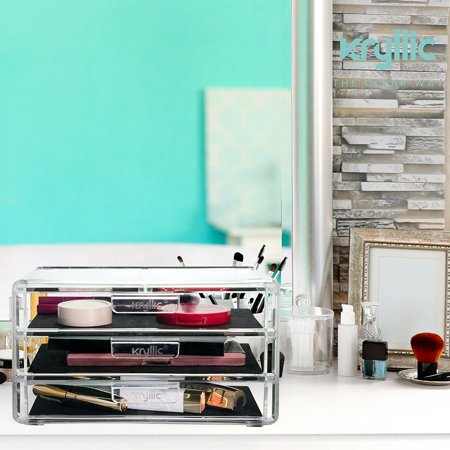 Kryllic Acrylic Makeup Jewelry Cosmetic Organizer - Clear Acrylic Display Storage for Jewelry Makeup Pallets & all Bathroom Accessories keep your Vanity & Dresser Organized with set of 3 Drawers - image 5 of 6