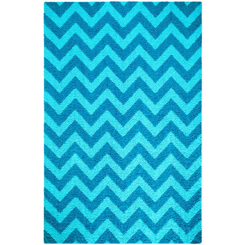 Your Zone Chevron Shag Rug, Turquoise
