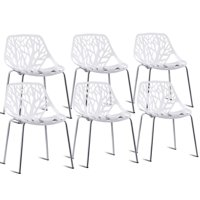 GHP 6-Pcs 264-Lbs Capacity White Iron & PP Cut-Out Tree Design Stackable Dining Chairs