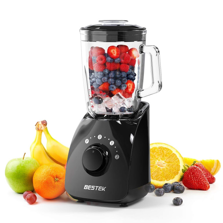 BESTEK Smoothie Blender,350 Watts 20000 RPM Smoothie Maker with 1.5L BPA Free Glass Jar, Nutrition Extraction Mixer, Juicer