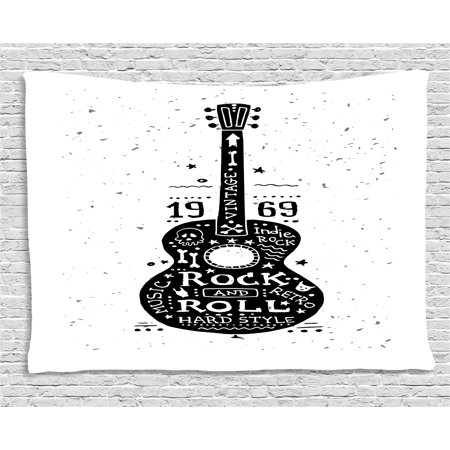 Guitar Tapestry, Hand Drawn Style Instrument with Grunge Look and Retro Design Rock and Roll Theme, Wall Hanging for Bedroom Living Room Dorm Decor, 60W X 40L Inches, Black White, - Rock And Roll Room Decor