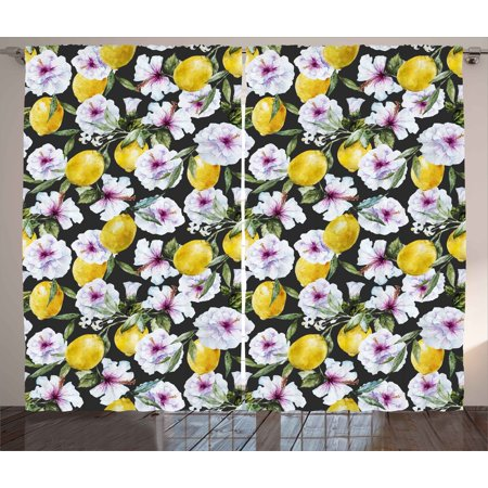 Floral Curtains 2 Panels Set, Tropical Hibiscus Blossoms Petals with Lemons Nature Harvest Spring Essence Image, Window Drapes for Living Room Bedroom, 108W X 96L Inches, Multicolor, by Ambesonne