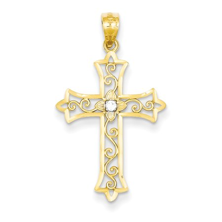 14K Yellow Gold Diamond Cross Pendant - image 2 de 2