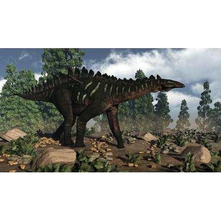 Miragaia dinosaur walking near Wollemi pines Stretched Canvas - Elena DuvernayStocktrek Images (19 x 11) ()