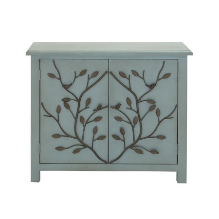 Decmode Traditional 2-Door Wooden Bird and Twig Cabinet, Dusty blue