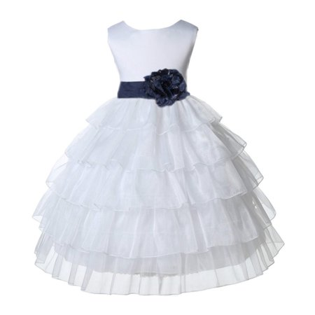 Ekidsbridal White Shimmering Tiered Organza Christmas Party Formal Bridesmaid Recital Easter Holiday Wedding Pageant Communion Princess Birthday Clothing Toddler Baptism 308S Flower Girl Dress