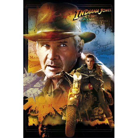 Indiana Jones And The Kingdom Of The Crystal Skull   Movie Poster   Print  Harrison Ford   Shia Labeouf   Motorcycle   Size  27   X 40
