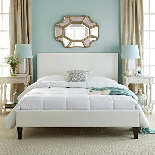 White Platform Bed Frames premier zurich faux leather queen white upholstered platform bed