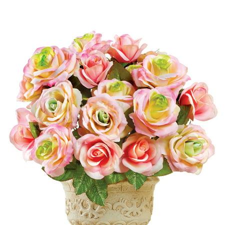 Artificial Pastel Rose Bush Floral Arrangement Planter Picks, Set of 3 - For Indoor Outdoor Use, Pink ()