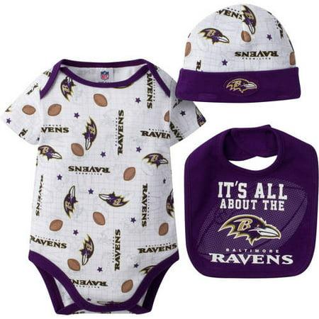 86ad8f0c NFL Baltimore Ravens Baby Boys Bodysuit, Bib and Cap Outfit Set, 3-Piece
