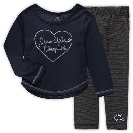 041c4c5c Penn State Nittany Lions Colosseum Girls Toddler Ice Metallic Long Sleeve T- Shirt & Leggings Set - Navy - Walmart.com
