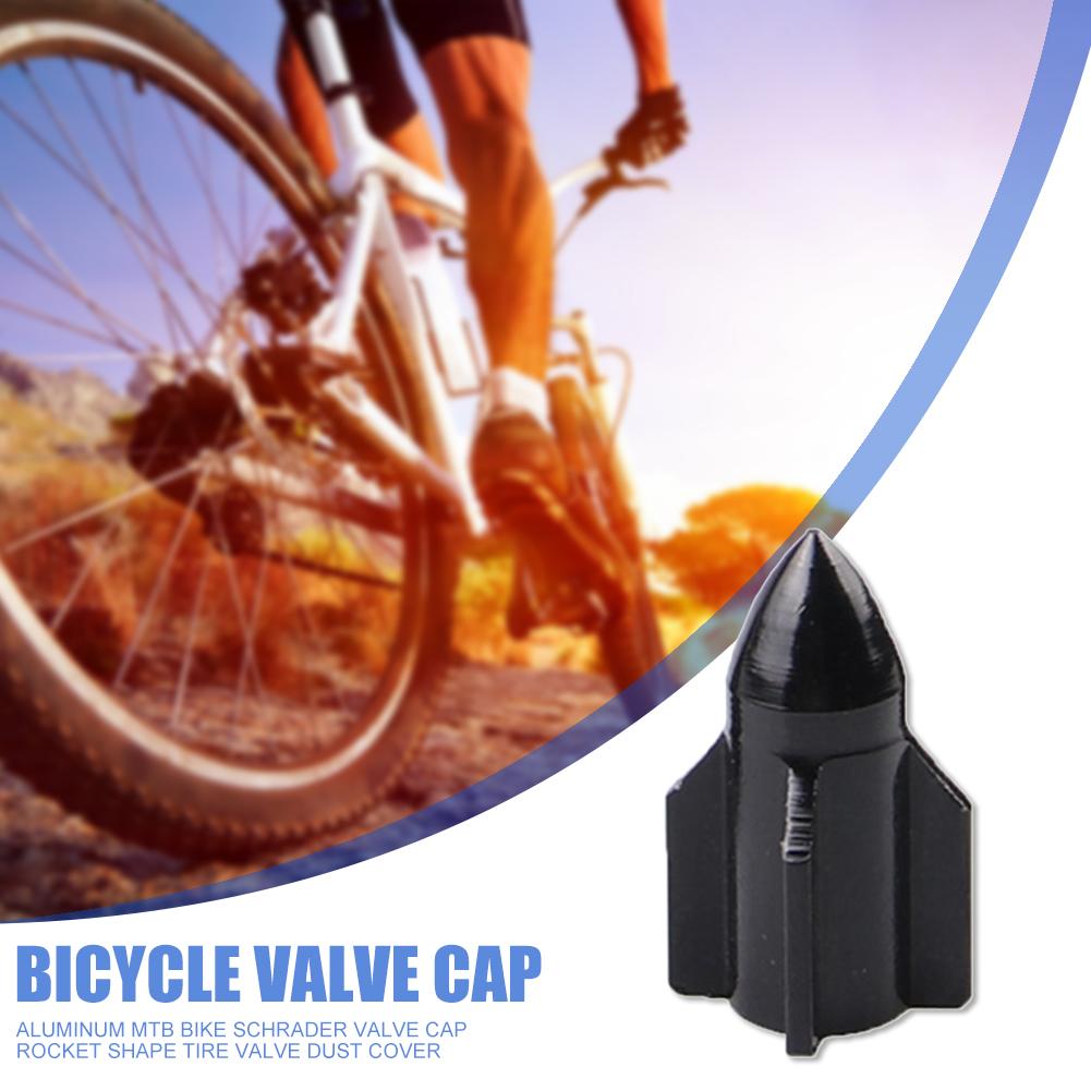 Aluminum MTB Bike Schrader Valve Cap Rocket Shape Tire Valve Dust Cover